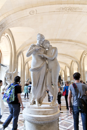 amore: PARIS, FRANCE, August 6, 2014: Sculpture of Amore e Pstiche stanti inside the Louvre museum in Paris Editorial