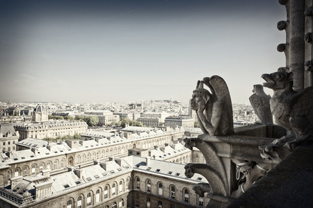 chimera: Notre Dame of Paris: Famous Chimera, demon, overlooking the Eiffel Tower at a summer day