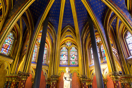 The Sainte Chapelle (Holy Chapel) in Paris, France. The Sainte Chapelle is a royal medieval Gothic chapel in Paris and one of the most famous monuments of the city