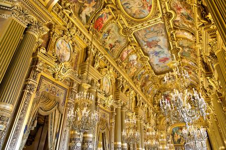 garnier: PARIS, August 4, 2014: Interior view of the Opera National de Paris Garnier, France.  It was built from 1861 to 1875 for the Paris Opera house
