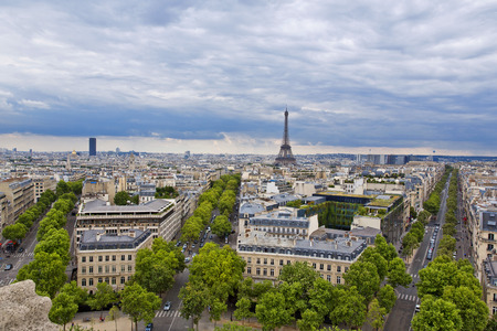 Panoramic view of Paris from the Arc de Triomphe photo