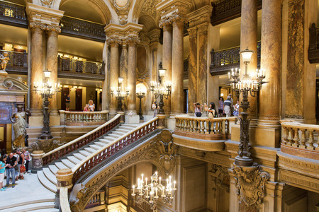 opera garnier: PARIS, August 4, 2014: Interior view of the Opera National de Paris Garnier, France.  It was built from 1861 to 1875 for the Paris Opera house