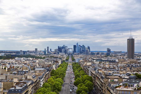 champs elysees quarter: Panoramic view of Paris from the Arc de Triomphe