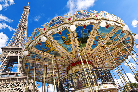 central park: The Eiffel Tower seen from Trocadero carousel, Paris, France