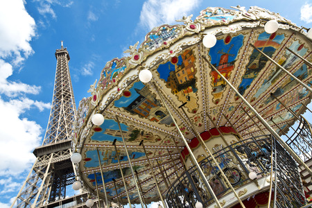 The Eiffel Tower seen from Trocadero carousel, Paris, France  photo