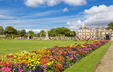 statuary: The beautiful view of the Luxembourg Gardens in Paris, France