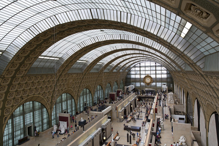PARIS, FRANCE, August 6, 2014: view of the interior of Musee d'Orsay in Paris, France on August 6, 2014. The museum has the largest collection of impressionist art in the world.