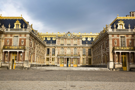 Outside view of Famous palace Versailles. The Palace Versailles was a royal chateau. It was added to the UNESCO list of World Heritage Sites. Paris, France Editorial