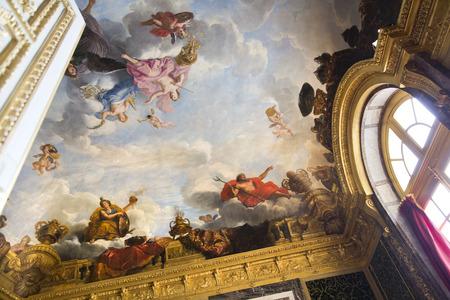 VERSAILLES, FRANCE - August 7, 2014: Interior of Chateau de Versailles (Palace of Versailles) near Paris on August 7, 2014, France. Versailles palace is in UNESCO World Heritage Site list since 1979. Редакционное
