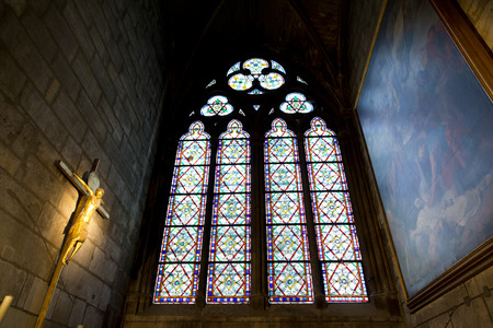 catholic chapel: Interior view of Notre-Dame Cathedral, a historic Catholic cathedral considered to be one of the finest examples of French Gothic architecture in Paris, France