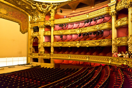 opera garnier: PARIS, August 4, 2014: Interior view of the Opera National de Paris Garnier, France.  It was built from 1861 to 1875 for the Paris Opera house Editorial
