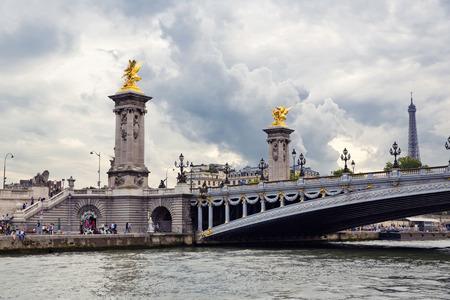 Beautiful view of Alexander III bridge in Paris, France photo