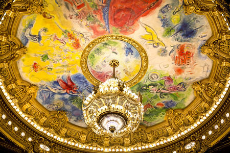 chagall: PARIS, August 4, 2014: Interior view of the Opera National de Paris Garnier, France.  It was built from 1861 to 1875 for the Paris Opera house Editorial