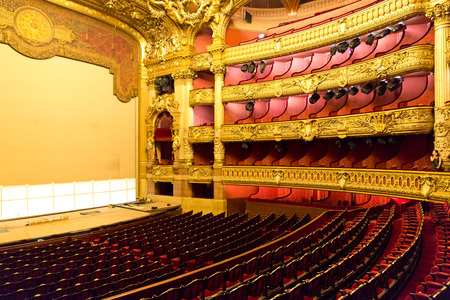 palais garnier: PARIS, August 4, 2014: Interior view of the Opera National de Paris Garnier, France.  It was built from 1861 to 1875 for the Paris Opera house Editorial
