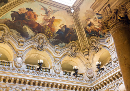 PARIS, August 4, 2014: Interior view of the Opera National de Paris Garnier, France.  It was built from 1861 to 1875 for the Paris Opera house