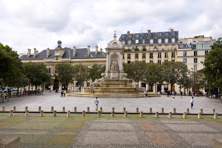 17th century: The Saint Sulpice fountain in the square in front of the famous church, Paris, France Editorial