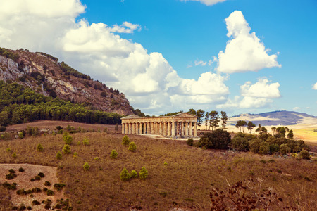 trapani: The greek temple of Segesta near Trapani in Italy Stock Photo