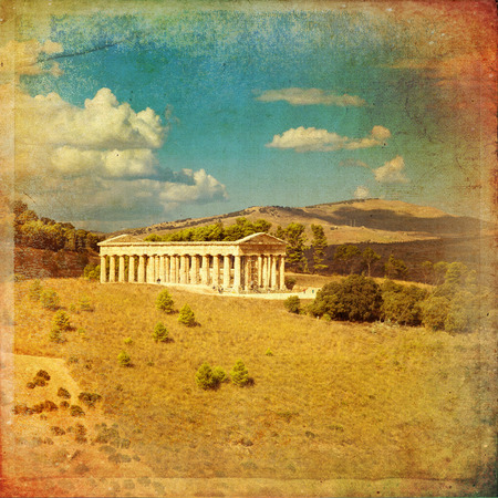 The greek temple of Segesta near Trapani in Italy photo