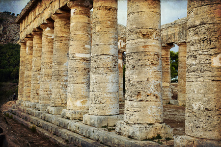 segesta: The greek temple of Segesta pillars near Trapani in Italy