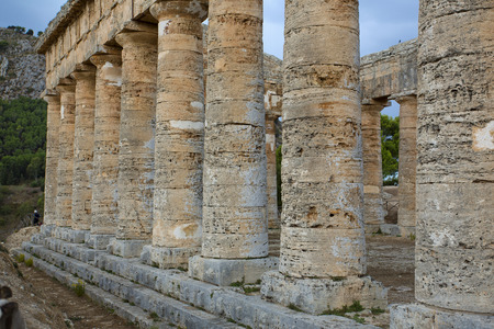 calatafimi: The greek temple of Segesta pillars near Trapani in Italy