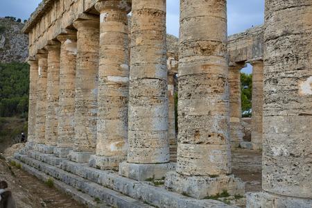 segesta: The greek temple of Segesta pillars near Trapani in Italy