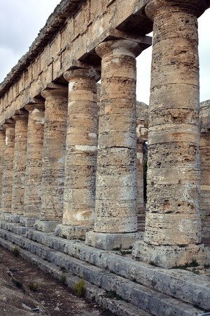 trapani: The greek temple of Segesta near Trapani in Italy Stock Photo