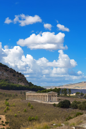 segesta: The greek temple of Segesta near Trapani in Italy Stock Photo