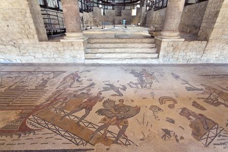 piazza: PIAZZA ARMERINA, SICILY, September 29, 2014: Mosaics in Villa Romana del Casale, Piazza Armerina, Sicilia, Italy,