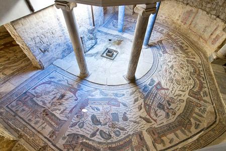 Piazza Armerina, Sicilië, 29 september 2014: Mozaïeken in Villa Romana del Casale, Piazza Armerina, Sicilië, Italië, Stockfoto