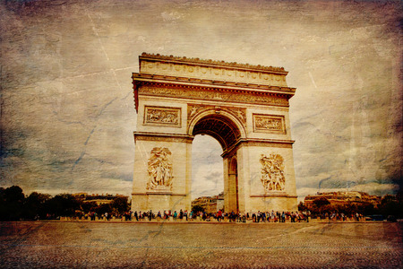 triumphe: Beautiful view of the Arc de Triomphe in Paris in vintage style, France