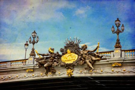 alexander: Beautiful view of Alexander III bridge in Paris, France Stock Photo