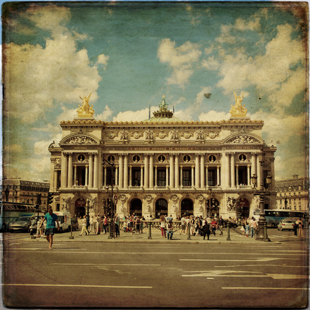 garnier: View of the Opera National de Paris Garnier in vintage style, France
