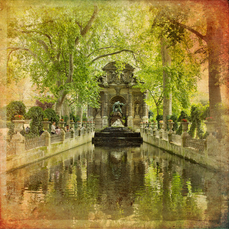 Medici Fountain in the Luxembourg Garden in vintage style, Paris Editorial