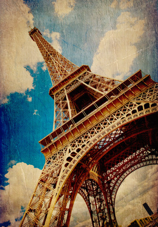 The Eiffel Tower in Paris in vintage style photo