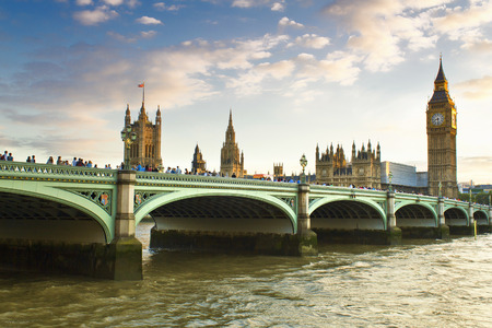 bigben: Houses of Parliament and Big Ben in Westminster, London. Stock Photo