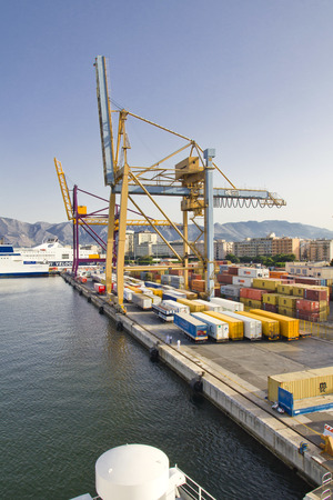 palermo   italy: PALERMO, ITALY, August 3, 2011:  Shipping containers in Palermo, one of Italys leading industrial centers