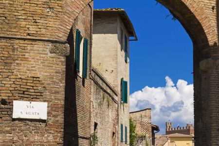 siena: Ancient medieval wall of Siena, Italy , Tuscany.