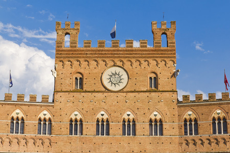 Detail of Campo Square with Mangia Tower, Siena, Italy