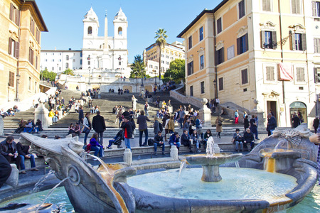 The famous Spanish Steps at morning, Rome, Italy