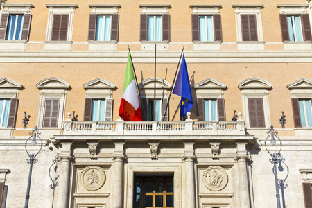 obelisco: Detail of the Montecitorio palace in Rome, Italy.