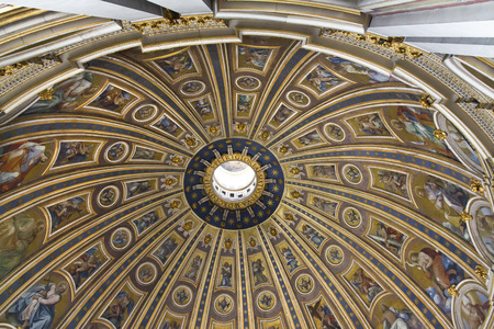 celling: The cupola of the St. Peters Basilica, St. Peters Square, Vatican City. Indoor interior. Editorial