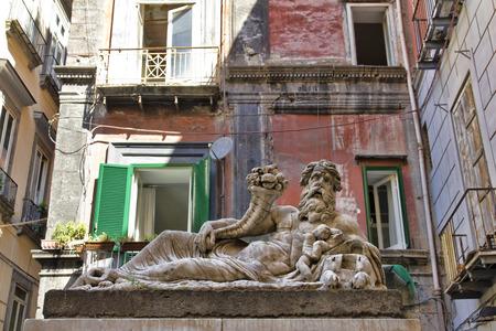 Het standbeeld van Nilo in de stad Napels, Italië Stockfoto