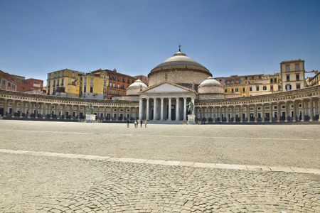 plebiscite: A beautiful view of  Piazza del Plebiscito in Naples, Italy Stock Photo