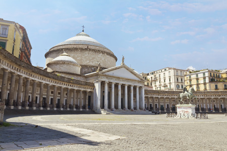 A beautiful view of  Piazza del Plebiscito in Naples, Italy Imagens