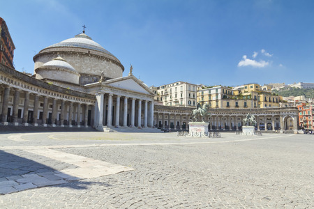 A beautiful view of  Piazza del Plebiscito in Naples, Italy Stock Photo