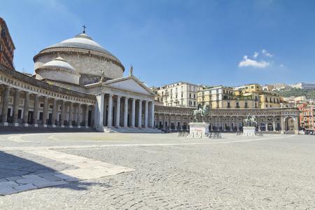 plebiscite: A beautiful view of  Piazza del Plebiscito in Naples, Italy Stock Photo