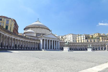 A beautiful view of  Piazza del Plebiscito in Naples, Italy Фото со стока