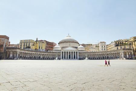 plebiscite: A beautiful view of  Piazza del Plebiscito in Naples, Italy Editorial