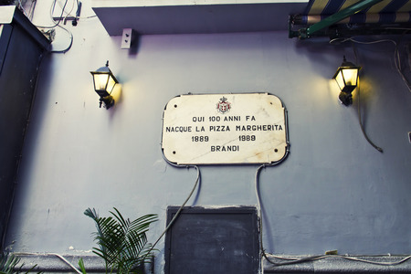 was: Here was born the famous pizza margherita, Naples Editorial