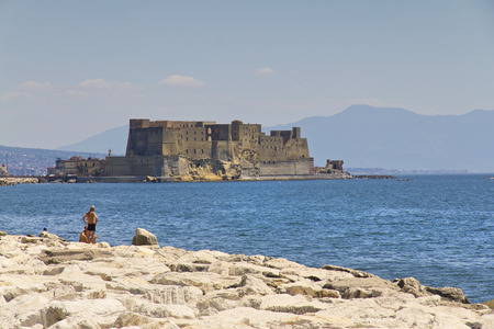 castel: Castel dellOvo (Egg Castle) a medieval fortress in the bay of Naples, Italy. Editorial